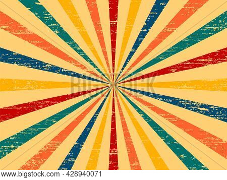 Retro Burst Vintage Background. Retro Background With Rays Or Stripes In The Center. Sunburst Retro