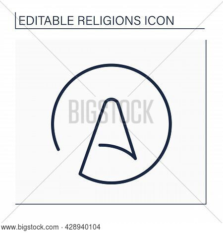 Atheism Line Icon. Rejection Of Belief In Any Deities. Atom Of Atheism Symbol. Religion Concept. Iso