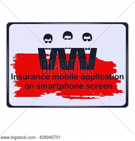 Smartphone. Three Images Of A Businessman. The Inscription On The Background In The Style Of Grunge.