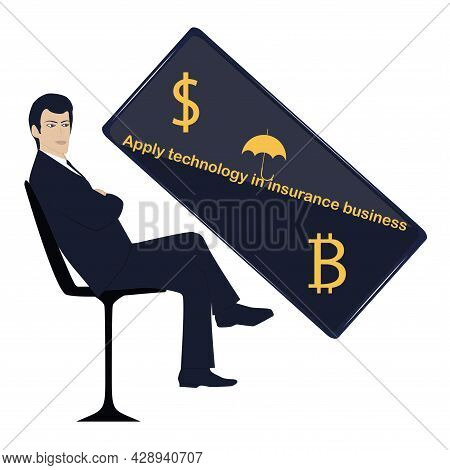 Smartphone With Bitcoin And Dollar Symbols. The Male Manager Is Sitting In A Chair. Insurtech Concep