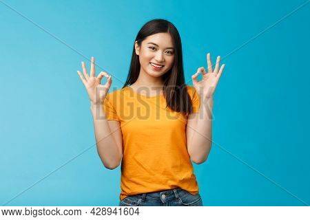 You Are Perfect. Good-looking Cheerful Asian Girl, Show Okay Ok Sign, Promote Self-acceptance, Smili