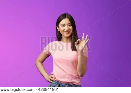 Okay Good Choice. Tender Attractive Friendly Asian Girl Shopping Together Girlfriend, Give Positive