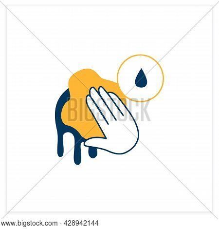 Wet Cleaning Flat Icon.wiping With Liquid Soaked Sponge Linear Pictogram. Concept Of Clean House, Hy