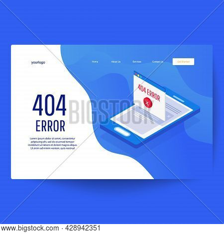 Design 404 Error On Website Page. Template For Web Page With 404 Error