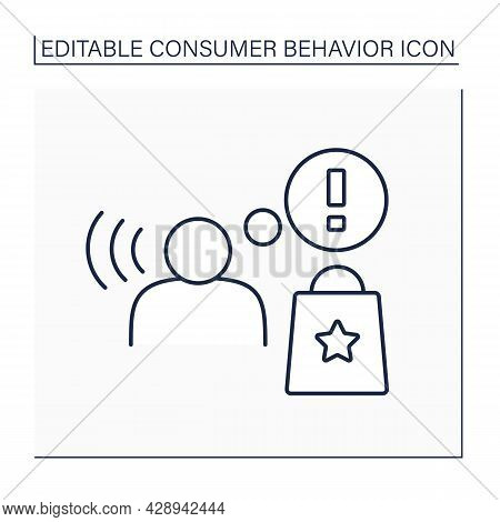 Awareness Line Icon. Consumption Awareness About Goods And Services. Consciousness Shopping. Consume