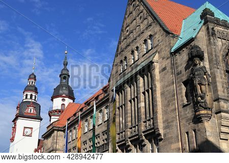 Chemnitz City In Germany. State Of Saxony In Germany. Neumarkt Square - New City Hall (neues Rathaus