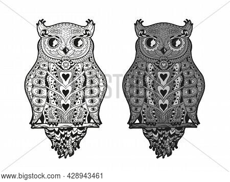 Owl On Isolated White. Detailed Hand Drawn Ornate Bird With Abstract Patterns On Isolated Background