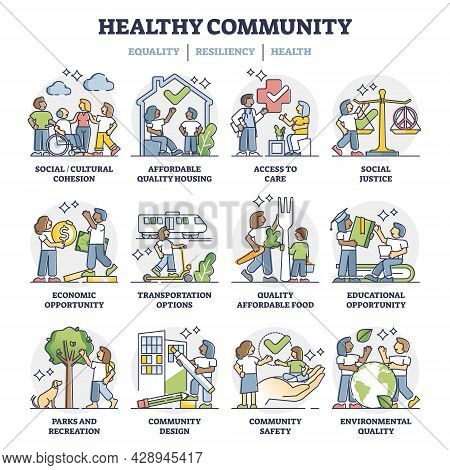 Social Cohesion With Society Equality, Resilience And Health Outline Collection Set. Community Harmo