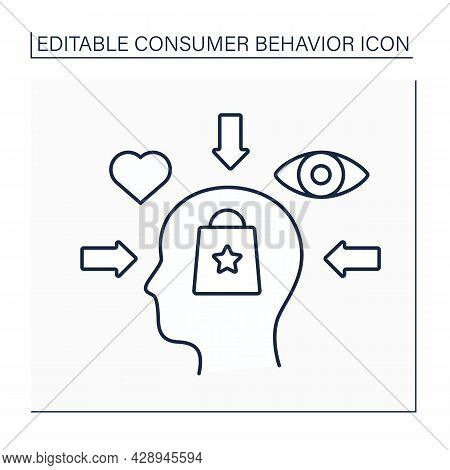 Social Influence Line Icon. Influence On Customers From Society. Reference Groups, Family, Role And