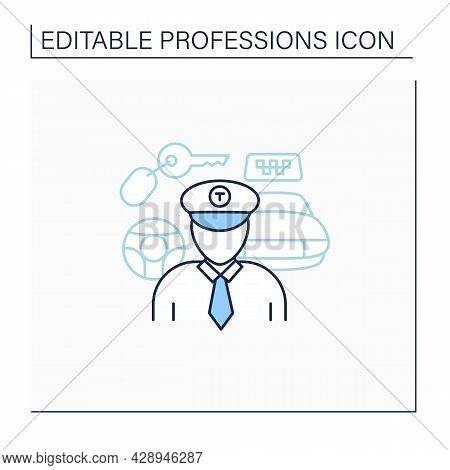 Taxi Driver Line Icon. Professional Driver. Transports Passengers. Important Job. Professions Concep