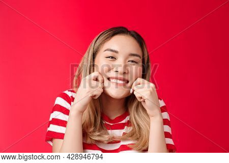 Cheerful Happy Optimistic Asian Girl Make Broad Joyful Smile Stretch Pure Sincere Grin Look Camera S