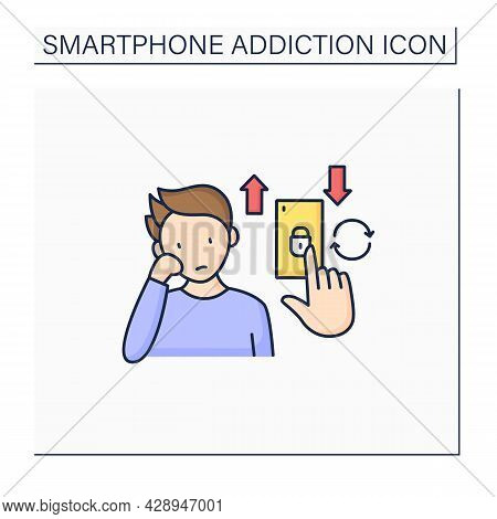 Boredom Color Icon. Unlock Phone When Bored. Spend Time In Telephone. Online Entertainment.smartphon