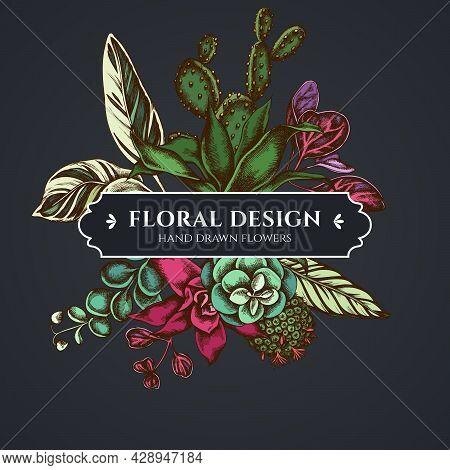 Floral Bouquet Dark Design With Ficus, Iresine, Kalanchoe, Calathea, Guzmania, Cactus Stock Illustra
