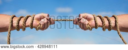 Two Hands, Helping Hand, Arm, Friendship. Rope, Cord. Hand Holding A Rope, Climbing Rope, Strength A