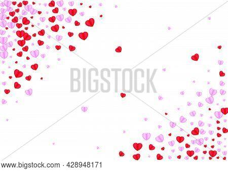 Pink Heart Background White Vector. Wedding Texture Confetti. Fond Drop Frame. Tender Confetti Brigh