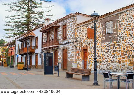 City Street - Beautiful Colorful Typical Spanish Colonial Architecture,  Teror City, Gran Canaria, C