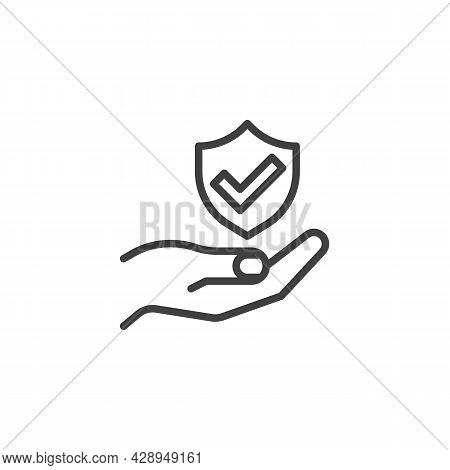 Insurance Service Line Icon. Linear Style Sign For Mobile Concept And Web Design. Hand And Shield Wi