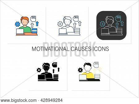 Workaholic Icons Set. Motivational Causes. Man Works Sitting Near Laptop. Hard Working. Overworking