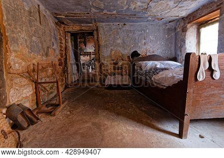 Eschbourg, France, June 25, 2021 : A Room Of The Old Semi-troglodyte Graufthal Rock Houses (maisons