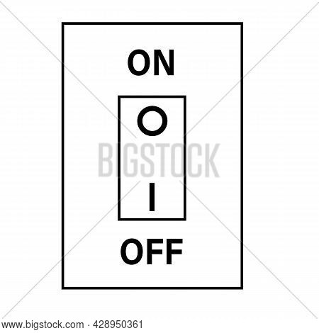 Electric Switch Icon On White Background. Outline Electric Switch Sign. Two Buttons On And Off. Flat