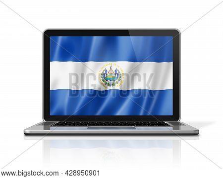 El Salvador Flag On Laptop Screen Isolated On White. 3d Illustration Render.