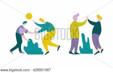 Man Character Giving High Five Interacting With Each Other Vector Set
