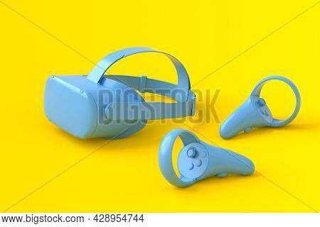 Virtual Reality Monochrome Blue Glasses And Controllers For Online And Cloud Gaming On Yellow Backgr