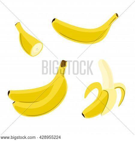 Vector Banana Set In Flat Style. Cartoon Illustration Of Single, Peeled Fruit And Bunch Of Bananas.