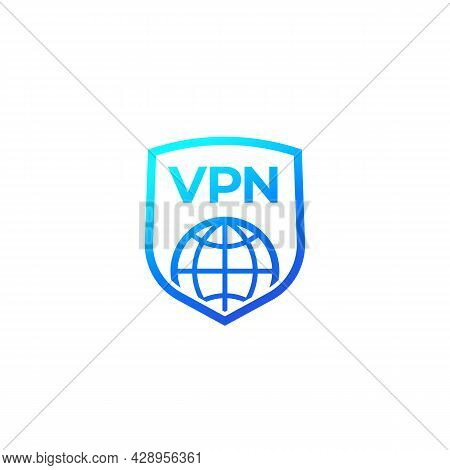 Vpn Icon With A Shield On White