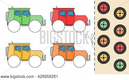 Education Paper Game For Preshool Children. Take Wheels By Color Of Car. Illustration For Printing O