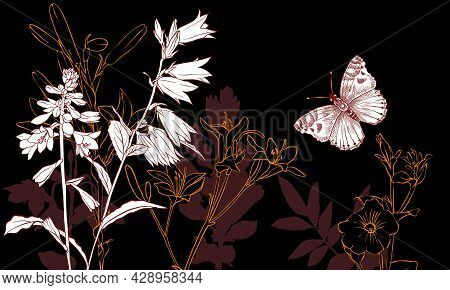 Vector Drawing Natural Background With Bell Flowers And Butterfly At Night, Hand Drawn Illustration