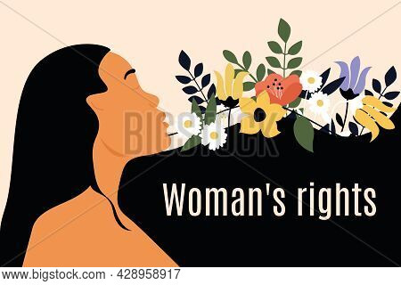 Congratulatory Banner For Women's Rights Day. Woman With Long Hair And Flowers On The Poster. Greeti