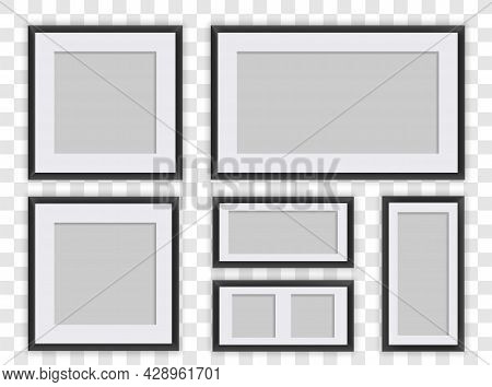 Photo Frames Isolated Set. Realistic Square Black Frames Mockup. Collage Of Templates For Inserting