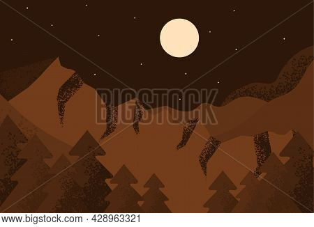 Abstract Night Landscape. Majestic Brown Mountains, Spruce Forest, Full Moon And Dark Sky. Contempor