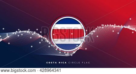 Costa Rica Circle Flag Design With Red And Blue Background. Good Template For Costa Rica Independenc