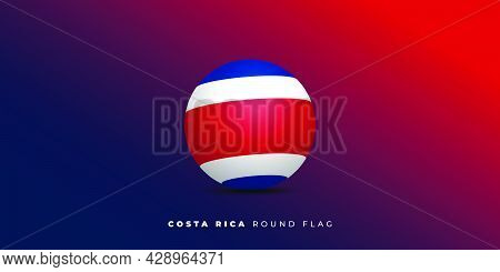Costa Rica Round Flag Design With Red And Blue Background. Good Template For Costa Rica Independence