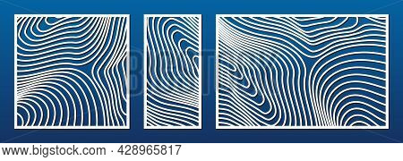 Laser Cut Pattern Set. Vector Template With Trendy Abstract Geometric Pattern, Curved Lines. Trendy