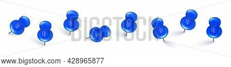 Realistic Blue Push Pins. Board Tacks Isolated On White Background. Plastic Pushpin With Needle. Vec