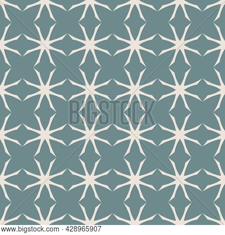 Simple Abstract Geometric Seamless Pattern. Vector Ornament Texture With Flower Silhouettes, Grid, N