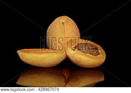 Black Background. With Clipping Path. Apricot Isolate. Apricots With A Slice, Half. Apricot On Black