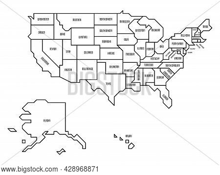 Black Outline Simplified Map Of Usa, United States Of America. Retro Style. Geometrical Shapes Of St