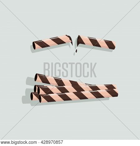 Vector Illustration Of Chocolate Wafer Stick. Stack Of Chocolate Wafer Stick. Pieces Wafer Roll. Mel