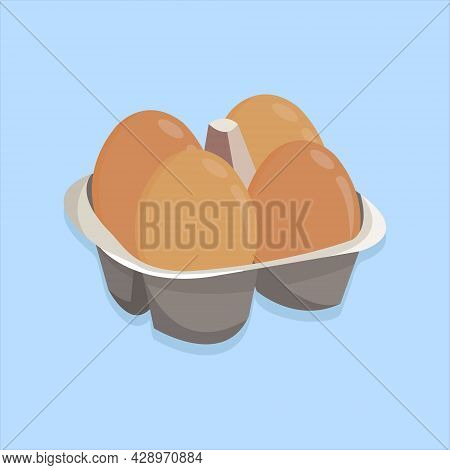 Vector Illustration Of Raw Chicken Eggs In The Carton Box. Box Container For Eggs. Package Of Raw Eg