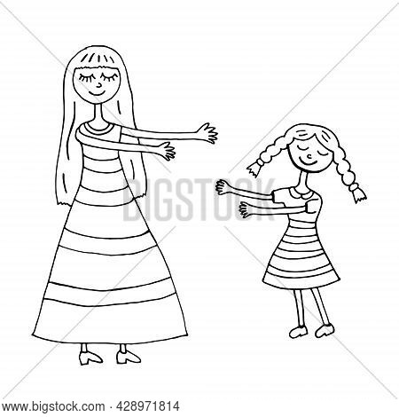 Mom Hugs Her Daughter. Vector Illustration. Isolated. Coloring Pages For Adults And Children. Cartoo