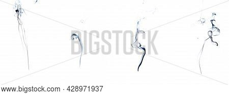 Smoke Abstract Set. Blur Black Smoke, Abstract Fog Or Steam Mist Cloud Group Isolated On White Backg