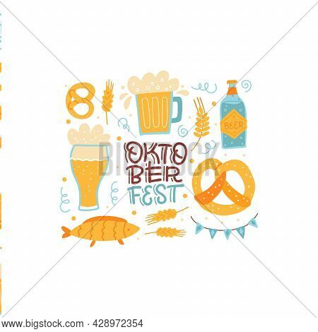 Lettering Cisolated Composition For Oktoberfest Bavarian Festival. Banner With Hand Drawn Word And G