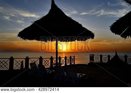 Beach At The Luxury Hotel During Sunrise, Sharm El Sheikh, Egypt
