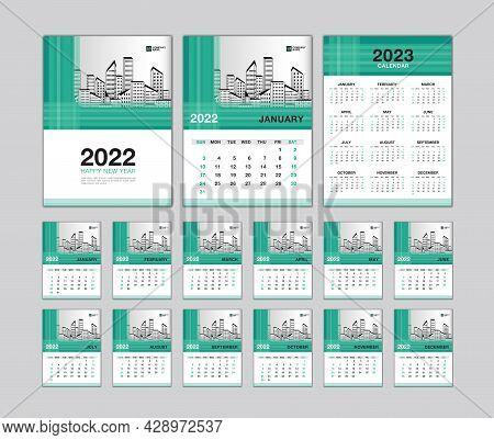 Wall Calendar 2022 Template - Desk Calendar 2022 Year, Calendar 2023 Design, Green Cover, Week Start