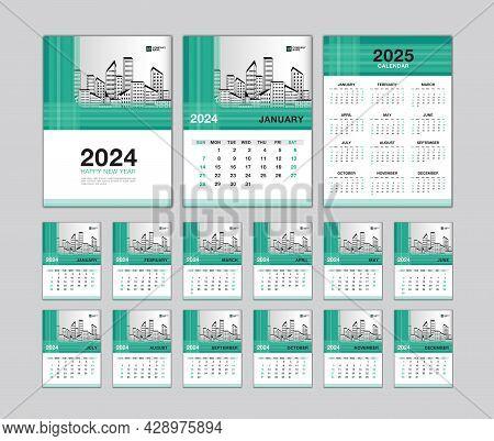 Wall Calendar 2024 Template - Desk Calendar 2024 Year, Calendar 2025 Design, Green Cover, Week Start
