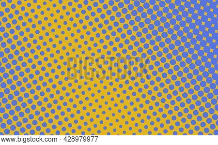Pop Art Creative Concept Colorful Comics Book Magazine Cover. Polka Dots Yellow And Blue Background.